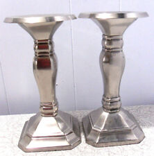 2pcs~POTTERY BARN~BRUSHED STAINLESS STEEL~TAPER or PILLAR~CANDLE HOLDERS