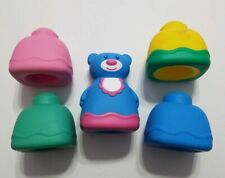 MEGA BLOKS RUBBER BUILDING BLOCKS SQUEEKING TOYS LOT OF 5 WITH BLUE BEAR PINK