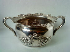 "Reed & Barton silver plated sugar bowl / dish with ornate scrolls 4.5"" diameter"
