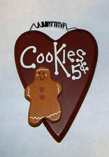 Cute Country wood Sign~Cookies 5c~Heart shaped Gingerbread man