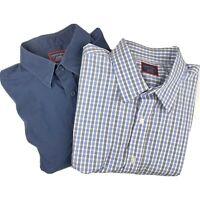 UNTUCKit Lot (2) Mens XL Fits Large Long Sleeve Button Blue Gray Checker Shirt