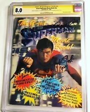 CGC SS 8.0 Great Superman Movie Book signed by Hackman, Kidder, Douglas +4 more