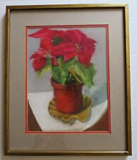 Vtg Christmas Red Poinsettia Plant Original Pastel Painting Art Picture Framed