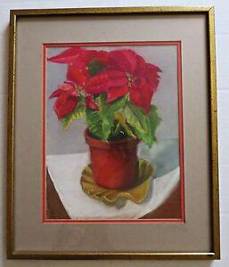Vtg Christmas Red Poinsettia Plant Original Pastel Painting Art Picture Framed