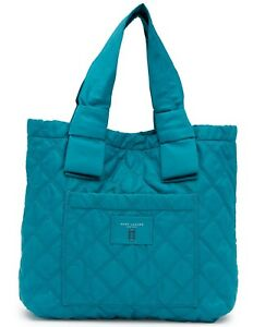 Marc Jacobs Bag Diamond Quilted Nylon Large Knot Tote Peacock NEW