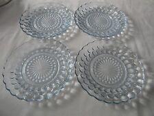 "Lot of 4 Vintage Anchor Hocking Blue Bubble Glass Dessert Salad Plates 6 3/4"""