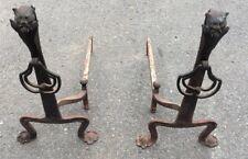 Set Of Devils / Demon Head Figural Case Iron Fireplace Andirons Arts & Crafts