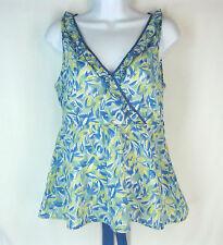 Anthropologie Shirt Wrap Size 8 Ruffle Trim Blue Yellow Floral Viola Babydoll