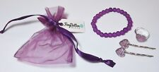 Younger girls purple accessories set - bracelet ring hairclips birthday gift