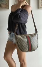 Authentic Vintage GUCCI Brown Monogram GG purse BAG Cross-body Striped Red Green