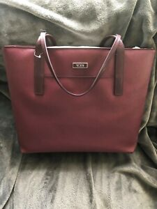 NWT Tumi Q-tote Saffiano Coated Canvas Shoulder Tote with Leather Trim - Merlot