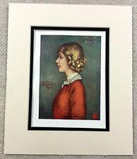 1905 Antique Print Bergen Norway Norwegian Portrait of a Girl Painting