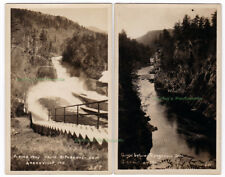 2 - RIPOGENUS DAM Greenville MAINE -c1910 Photo POSTCARDS Gorge Below Dam SLUICE