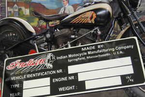 Indian  VIN Data PLATE for Frame Rolling Chassis