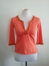 Easton Pearson size 8 apricot cotton top with three-quarter sleeves