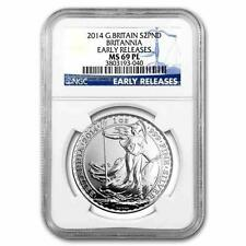 New 2014 UK Great Britain Silver Britannia 1oz Early Releases NGC MS69 Graded