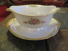 Kikusui China KIK51 Green Border, Floral Gold Trim Gravey Boat with attached