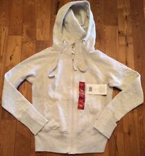 NWT Womens ACTIVE LIFE Oatmeal Heathered Full Zip Hooded Sweater Jacket Size XL