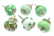 6 x Mixed Green & White Ceramic Cupboard Knobs Cabinet Drawer Pulls (MG-220-A)