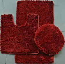 3 Piece Shaggy Shiny Chenille Made with 100% Polyester ( Burgundy)