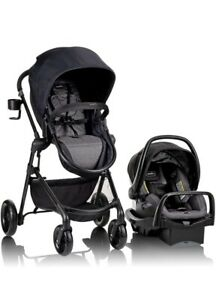 Evenflo Pivot Modular Travel System With SafeMax Car Seat Casual Gray