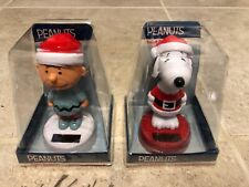 NWT (2) Peanuts Charlie Brown & Snoopy Solar Bobblers Perfect For Collectors