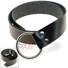 Medieval Belt Simple Steel Ring Costume & LARP Pleather Black