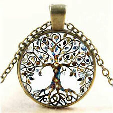 Vintage Living Tree of Life Glass Cabochon Bronze Chain Pendant Necklace