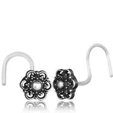 STERLING SILVER 20G NOSE STUD MANDALA FLOWER BIOPLAST NOSE RING EAR 6MM HEAD