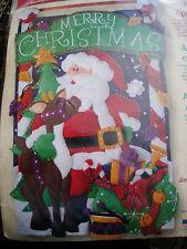 Dimensions Christmas Felt Applique WALLHANGING BANNER Sign Kit,SANTA'S DEER,8106