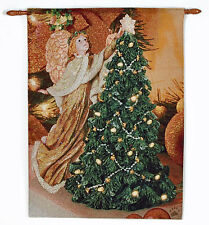 Boyds Bears Angel Tree Christmas Fiber Optic Tapestry Wall Hanging