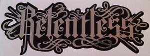 Relentless Decals / Stickers, Black & Silver Chrome x2