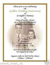 (60) 50th GOLDEN WEDDING ANNIVERSARY PHOTO INVITATIONS