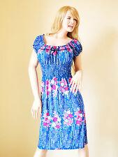 VESTITO LUNGO donna BLU fiori fucsia floreale ABITO copricostume mare cotone