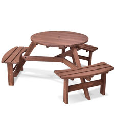 Round Picnic Table With Bench Set Seating Up To 6 Wood Outdoor Patio Furniture