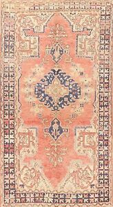 Vintage Muted Geometric Oushak Turkish Area Rug Hand-Knotted Oriental Carpet 4x7
