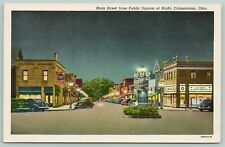Columbiana Ohio~Main Street Night Lights~Ice Cream Shop~Highway Signs~1943 Linen