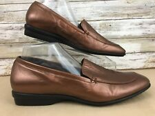 SoftSpots Womens 12M Copper Metallic Leather Square Moc Toe Slip On Loafer Shoe