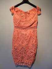 LIPSY BRAND NEW Terracotta/Orange Lace Bodycon Dress, Size 10
