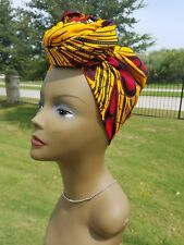 Yellow and Red african print headwrap