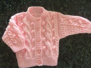 Hand knitted Pink Aran Girls Cardigan