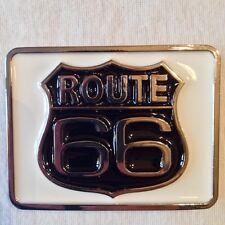 Boucle de ceinture USA Route 66 / Etats Unis / Metal / Drapeau / 9 cm X 7 cm