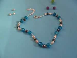 AN003 925 Sterling Silver chain Anklet Handmade Unique singular ladies Gems Gift