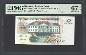Suriname 25 Gulden 10-2-1998 P138d Uncirculated Graded 67