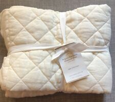 Pottery Barn Euro Pillow Sham Belgian Flax Linen Diamond Quilted Ivory NEW