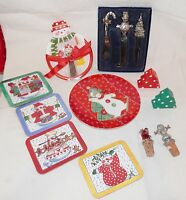 Christmas Winter Serving Pieces Assorted Small Items 14pieces Snowmen, Santa etc