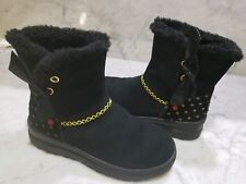 Ugg Boots youth Size 4 I love Uggs Black Hearts Mini run small like