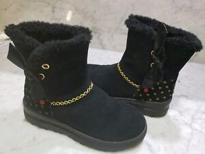 Ugg Boots youth Size 4 I love Uggs Black Hearts Mini run small like