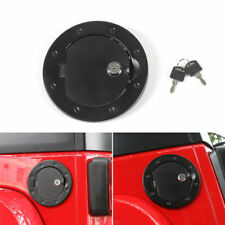 Lock +Key+ Bolt-On Gas Fuel Tank Door Cover Cap For 07-17Jeep Wrangler TJ Black