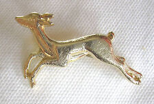 Brooch / Pin . Leaping Deer , Gold Tone Body